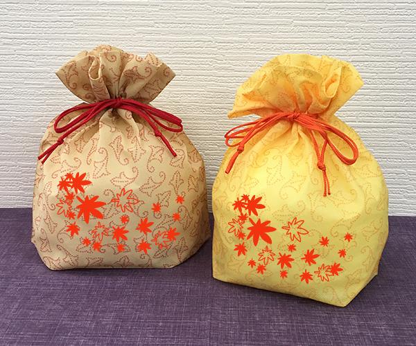 巾着 和菓子 もみじ 紅葉 米菓 秋