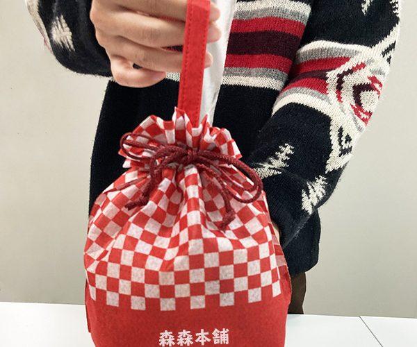 名入れ 巾着ラッピング 鬼滅の刃 市松 正月ラッピング 和菓子 お祝い 新春 お年玉