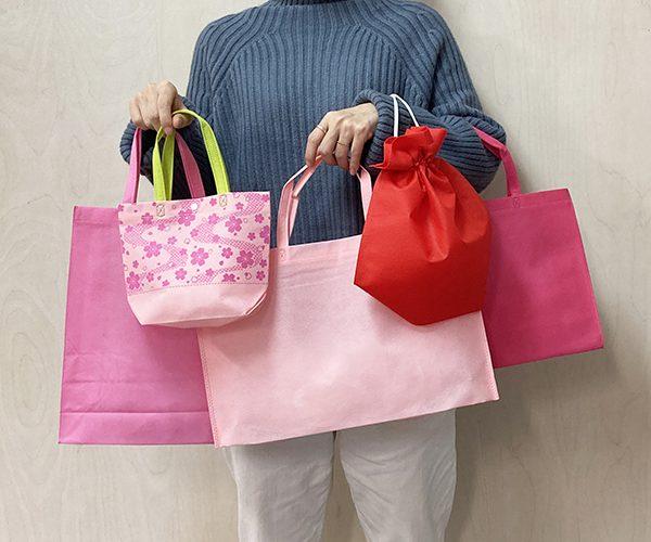 不織布バッグ 可愛い ピンク 春 桜 アパレル 洋菓子 和菓子 ナップサック