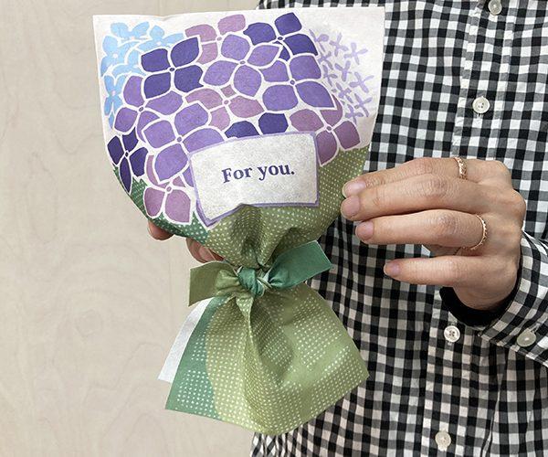 ラッピング 花束 紫陽花 和菓子 洋菓子 雑貨