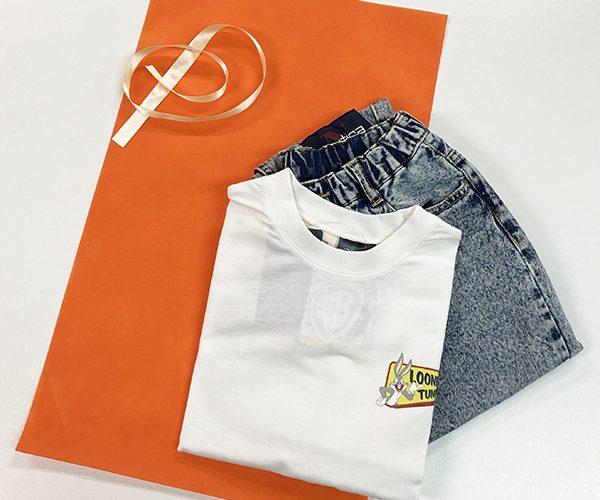 平袋 内袋 簡単ラッピング リボン 子供服 ベビー服 アパレル レディース カラフル 名入れ