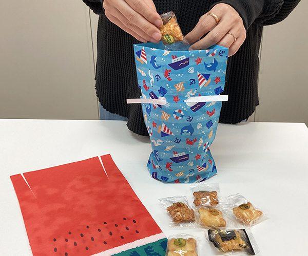 ラッピング サマー 夏 スイカ マリン 和菓子 洋菓子 簡単ラッピング 雑貨 小物