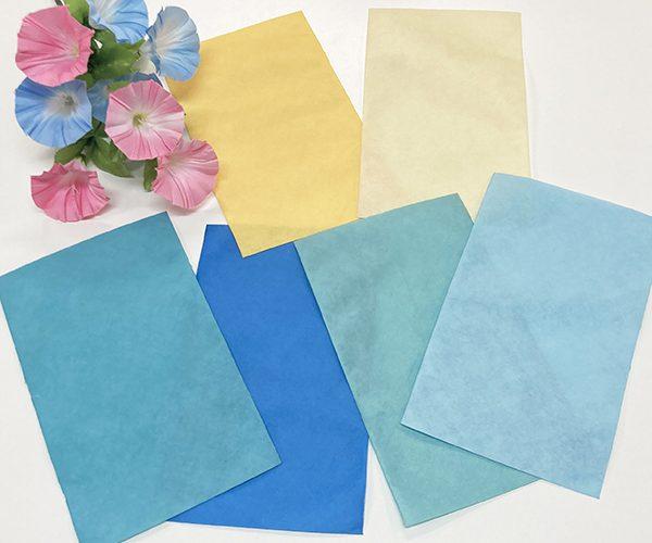 ラッピング 平袋 夏色 ブルー イエロー リボン 和風 洋風 カラー